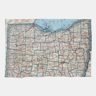 Vintage Map of Ohio (1921) Kitchen Towels