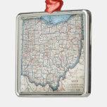 Vintage Map of Ohio (1921) Square Metal Christmas Ornament