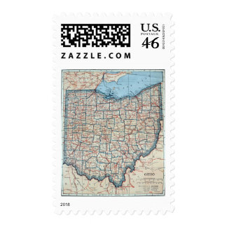 Vintage Map of Ohio 1921 Postage Stamps