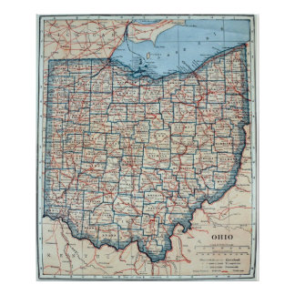Vintage Map of Ohio (1921) Poster