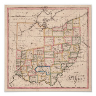 Vintage Map of Ohio Poster
