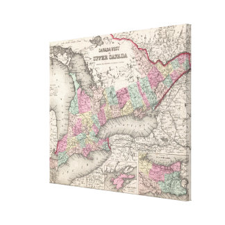 Vintage Map of Ontario (1857) Canvas Print