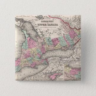 Vintage Map of Ontario (1857) Pinback Button