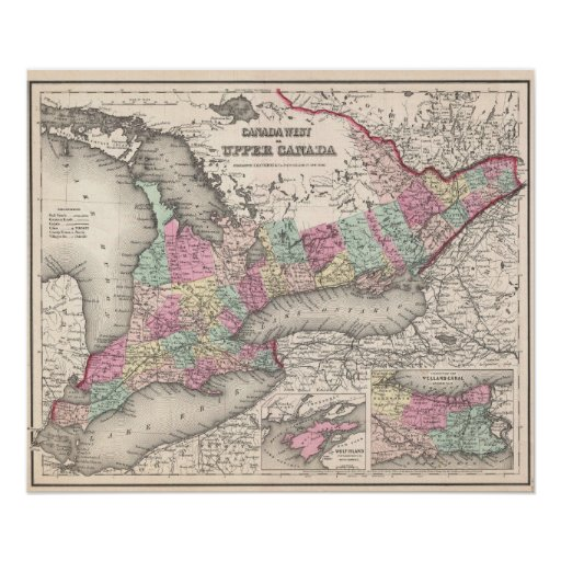 Vintage Map of Ontario (1857) Posters