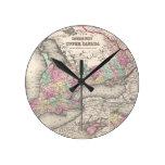 Vintage Map of Ontario (1857) Round Wall Clocks