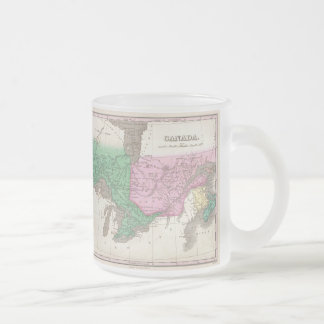 Vintage Map of Ontario and Quebec (1827) Frosted Glass Coffee Mug