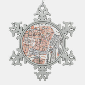 Vintage Map of Ostend Belgium (1905) Snowflake Pewter Christmas Ornament