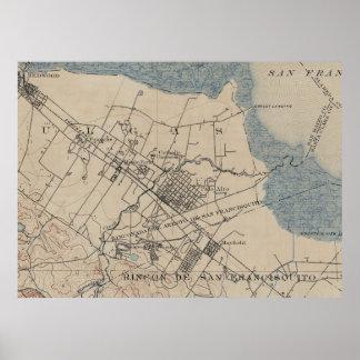 Vintage Map of Palo Alto California (1895) Poster