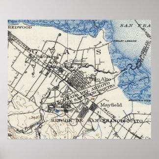 Vintage Map of Palo Alto California (1899) Poster