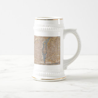 Vintage Map of Paris (1550) Beer Stein
