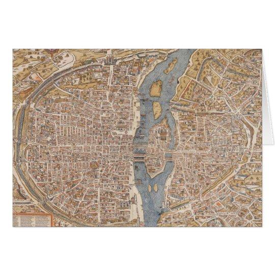 Vintage Map of Paris (1550) Card
