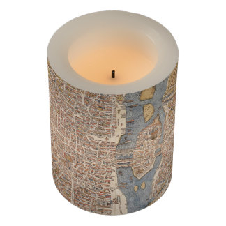 Vintage Map of Paris (1550) Flameless Candle