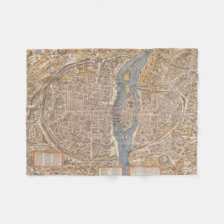 Vintage Map of Paris (1550) Fleece Blanket