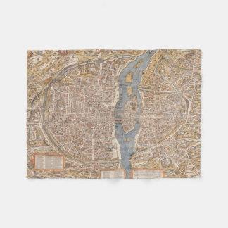 Vintage Map of Paris (1550) Fleece Blanket
