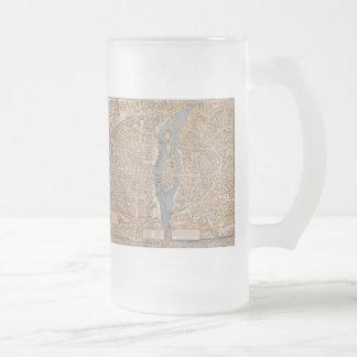 Vintage Map of Paris (1550) Frosted Glass Beer Mug