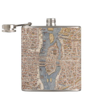 Vintage Map of Paris (1550) Hip Flask