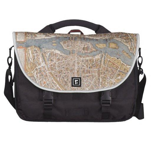 Vintage Map of Paris (1550) Laptop Commuter Bag