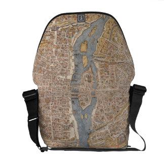 Vintage Map of Paris (1550) Messenger Bag