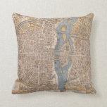 Vintage Map of Paris (1550) Pillows