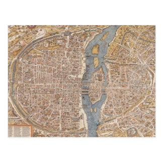Vintage Map of Paris (1550) Postcard