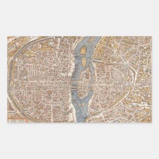 Vintage Map of Paris (1550) Rectangular Sticker