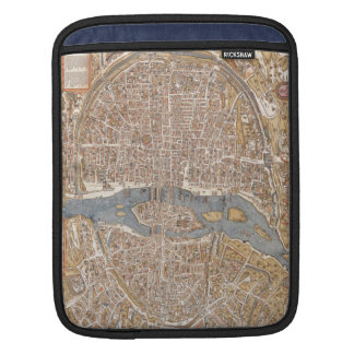 Vintage Map of Paris (1550) Sleeves For iPads
