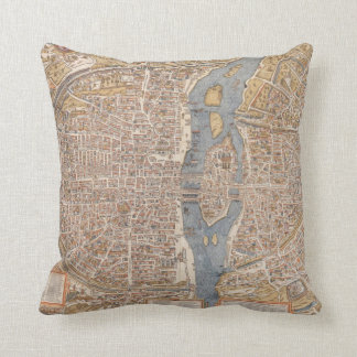 Vintage Map of Paris (1550) Throw Pillow