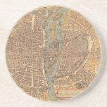 Vintage Map of Paris (1575) Beverage Coaster
