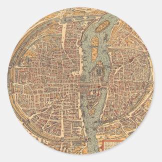 Vintage Map of Paris (1575) Classic Round Sticker
