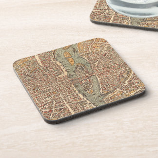 Vintage Map of Paris (1575) Drink Coaster