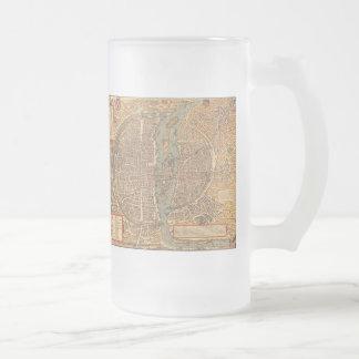Vintage Map of Paris (1575) Frosted Glass Beer Mug