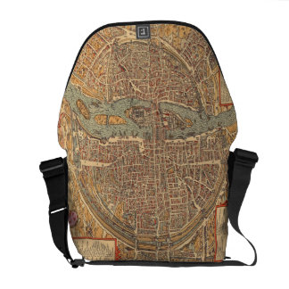 Vintage Map of Paris (1575) Messenger Bag