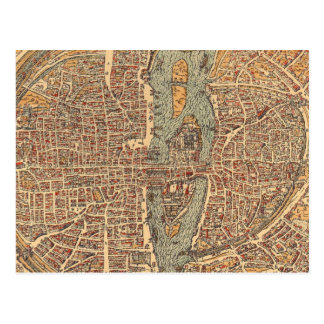 Vintage Map of Paris (1575) Postcard