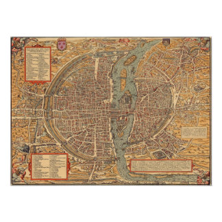 Vintage Map of Paris (1575) Poster
