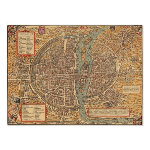 Vintage Map of Paris (1575) Posters
