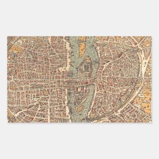 Vintage Map of Paris (1575) Rectangular Sticker