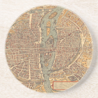 Vintage Map of Paris (1575) Sandstone Coaster
