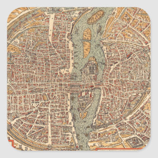 Vintage Map of Paris (1575) Square Sticker