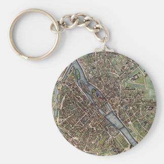 Vintage Map of Paris (1657) Basic Round Button Keychain