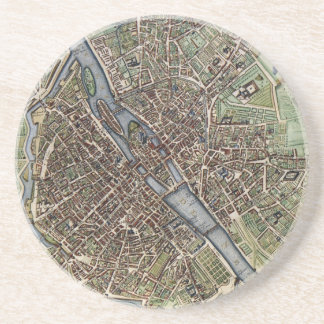 Vintage Map of Paris (1657) Coaster