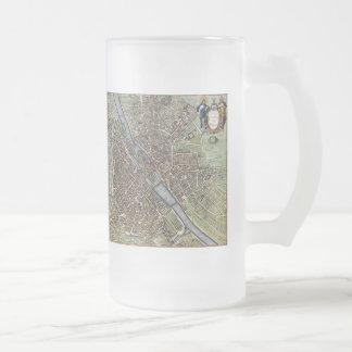Vintage Map of Paris (1657) Frosted Glass Beer Mug