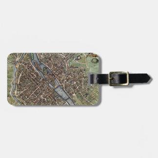 Vintage Map of Paris (1657) Luggage Tag