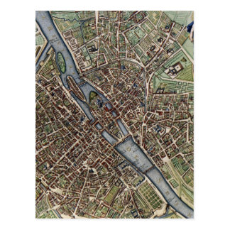 Vintage Map of Paris (1657) Postcard