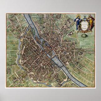 Vintage Map of Paris (1657) Poster