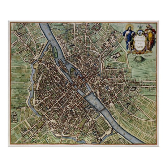 Vintage Map of Paris (1657) Poster
