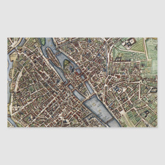 Vintage Map of Paris (1657) Rectangular Sticker