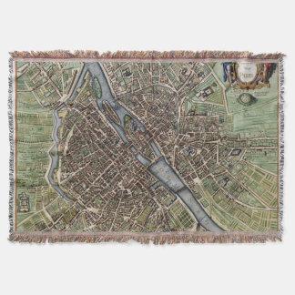 Vintage Map of Paris (1657) Throw Blanket