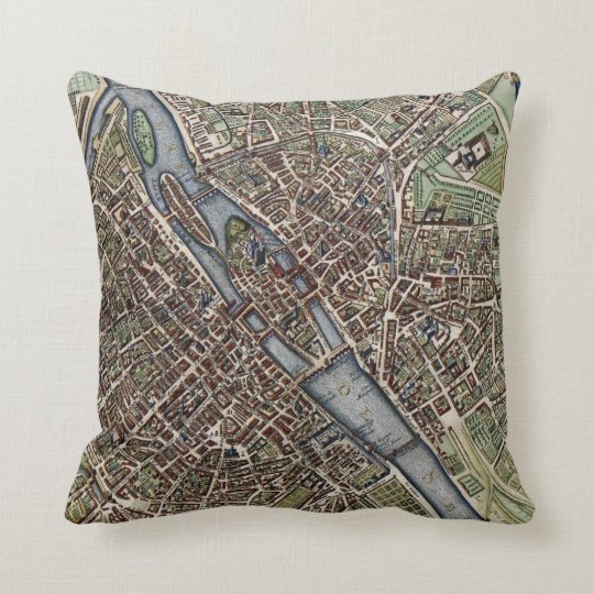 Vintage Map of Paris (1657) Throw Pillow