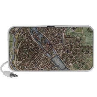 Vintage Map of Paris (1657) Travel Speakers