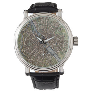 Vintage Map of Paris (1657) Wrist Watches
